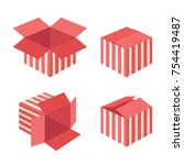 red gift boxes icons collection ... | Shutterstock .eps vector #754419487