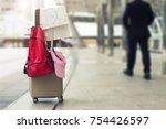 travel concept. travel bag  hat ... | Shutterstock . vector #754426597