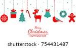 christmas ornament hanging.... | Shutterstock .eps vector #754431487