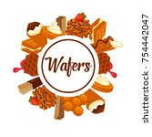 wafers and waffles desserts... | Shutterstock .eps vector #754442047