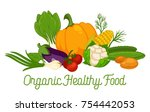 organic vegetables food and... | Shutterstock .eps vector #754442053