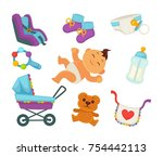 baby or child birth and happy...   Shutterstock .eps vector #754442113