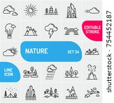 landscapes icons in a linear... | Shutterstock .eps vector #754452187