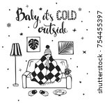 baby its cold outside... | Shutterstock .eps vector #754455397