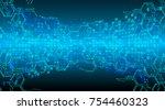 binary circuit board future... | Shutterstock .eps vector #754460323