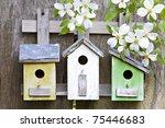 Three Cute Little Birdhouses O...