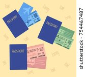 bus plane train ticket concept...   Shutterstock .eps vector #754467487
