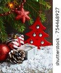 christmas decoration with fir... | Shutterstock . vector #754468927