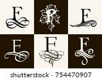 vintage set . capital letter f... | Shutterstock .eps vector #754470907