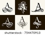vintage set . capital letter a... | Shutterstock .eps vector #754470913