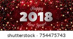 happy new year 2018 greeting... | Shutterstock . vector #754475743