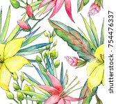 tropical hawaii plants pattern... | Shutterstock . vector #754476337