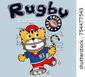 animal rugby sport cartoon... | Shutterstock .eps vector #754477543