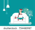 happy freelancer girl with... | Shutterstock .eps vector #754480987