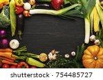 frame of fresh organic... | Shutterstock . vector #754485727