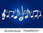 view of a 3d render music notes ... | Shutterstock . vector #754490557