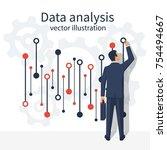 data analysis. businessman in... | Shutterstock .eps vector #754494667
