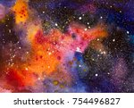 abstract watercolor outer space ... | Shutterstock . vector #754496827