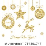 christmas decorations. deer ... | Shutterstock .eps vector #754501747
