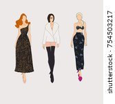 hand drawn fashion models.... | Shutterstock .eps vector #754503217
