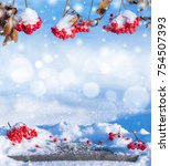 winter background with snow...   Shutterstock . vector #754507393