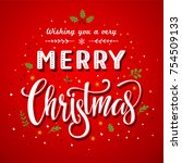 merry christmas greeting card... | Shutterstock .eps vector #754509133