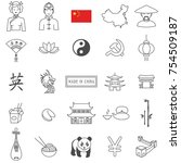 china travel line icon set... | Shutterstock .eps vector #754509187