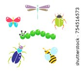 cartoon insects colorful vector ... | Shutterstock .eps vector #754516573