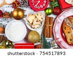 christmas cookies background.... | Shutterstock . vector #754517893