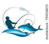 fisherman fishing with a... | Shutterstock .eps vector #754518073