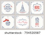 Ornate square winter holidays greeting cards with New Year tree, gift box, Christmas ornaments, swirl frames and typographic design. Vector illustration. | Shutterstock vector #754520587