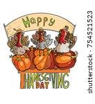 thanksgiving day vector...   Shutterstock .eps vector #754521523