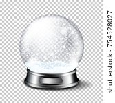 realistic christmas glass snow... | Shutterstock .eps vector #754528027