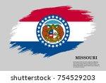grunge styled flag of missouri... | Shutterstock .eps vector #754529203