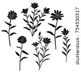 silhouettes of flowers...   Shutterstock .eps vector #754530517