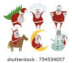 santa claus  present  vector...   Shutterstock .eps vector #754534057