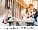 asian single woman envious with ... | Shutterstock . vector #754534537
