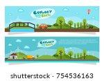ecology concept flat design... | Shutterstock .eps vector #754536163