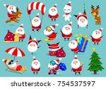 santa claus big collection of... | Shutterstock .eps vector #754537597
