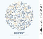 christianity concept in circle...