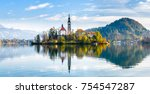 lake bled slovenia. beautiful... | Shutterstock . vector #754547287