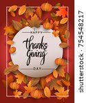 happy thanksgiving typography... | Shutterstock .eps vector #754548217