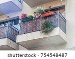 balconies of old european houses | Shutterstock . vector #754548487