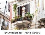 balconies of old european houses | Shutterstock . vector #754548493
