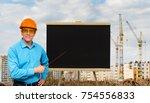 happy smiling builder worker... | Shutterstock . vector #754556833
