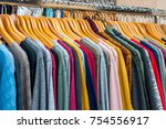 clothes on a hanger | Shutterstock . vector #754556917