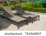 daybed  on  the beach in water... | Shutterstock . vector #754560847