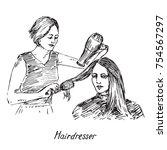 hairdresser at work   drying... | Shutterstock .eps vector #754567297