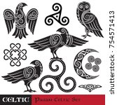 celtic magic set. celtic horned ... | Shutterstock .eps vector #754571413