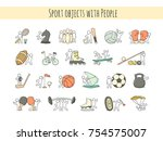 cartoon set of sketch little... | Shutterstock .eps vector #754575007